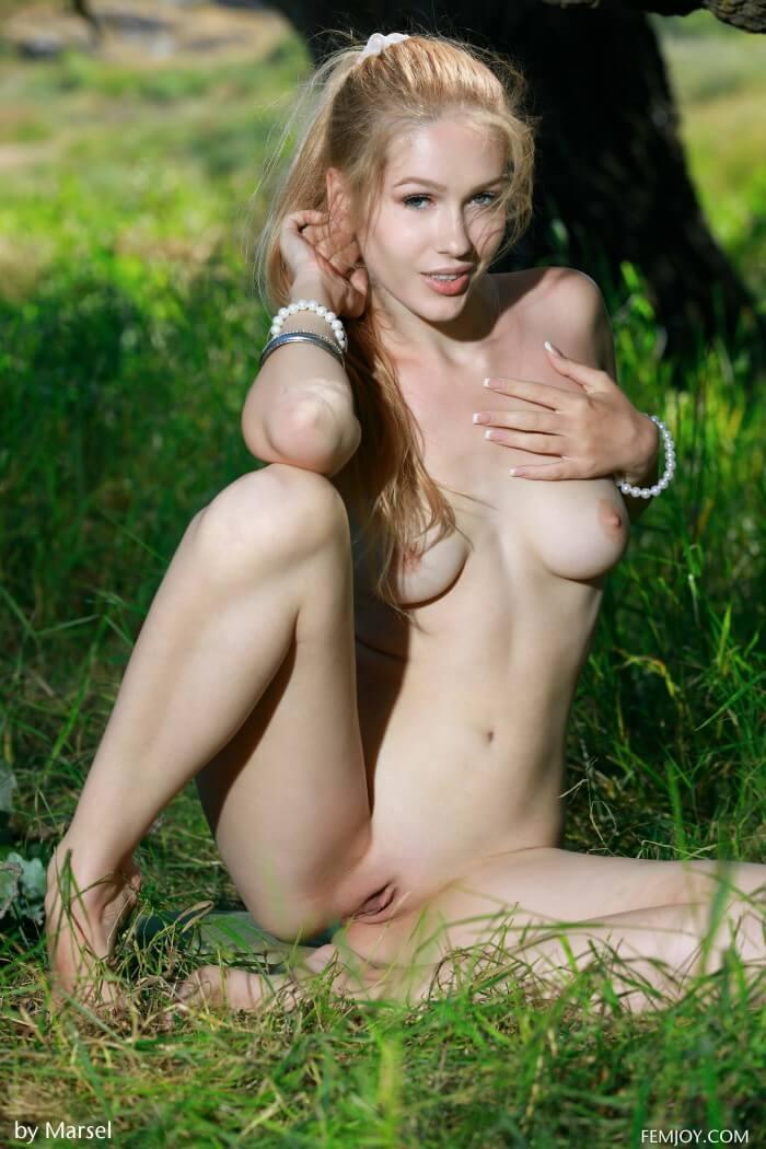 Позирует на зеленой лужайке