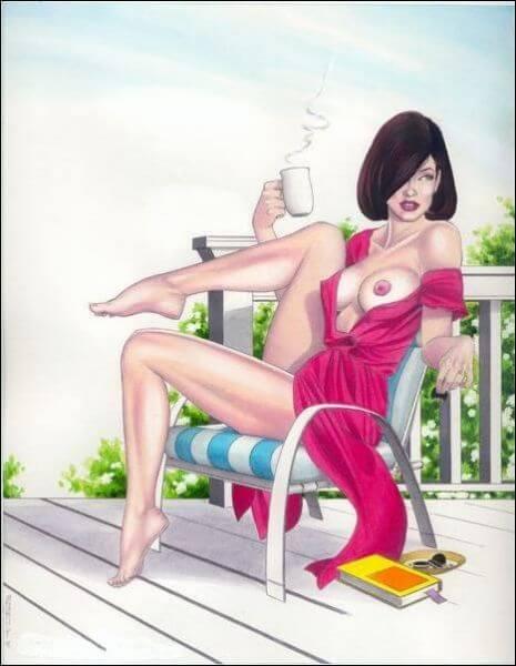 На веранде с чашкой кофе