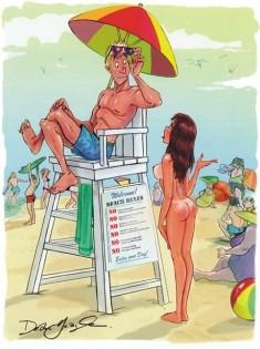 Просит помощи на пляже без лифчика