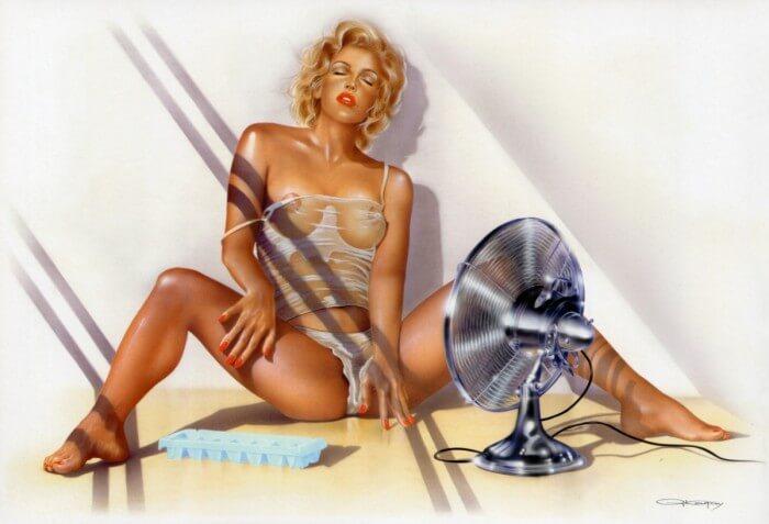Горячая девочка перед вентилятором