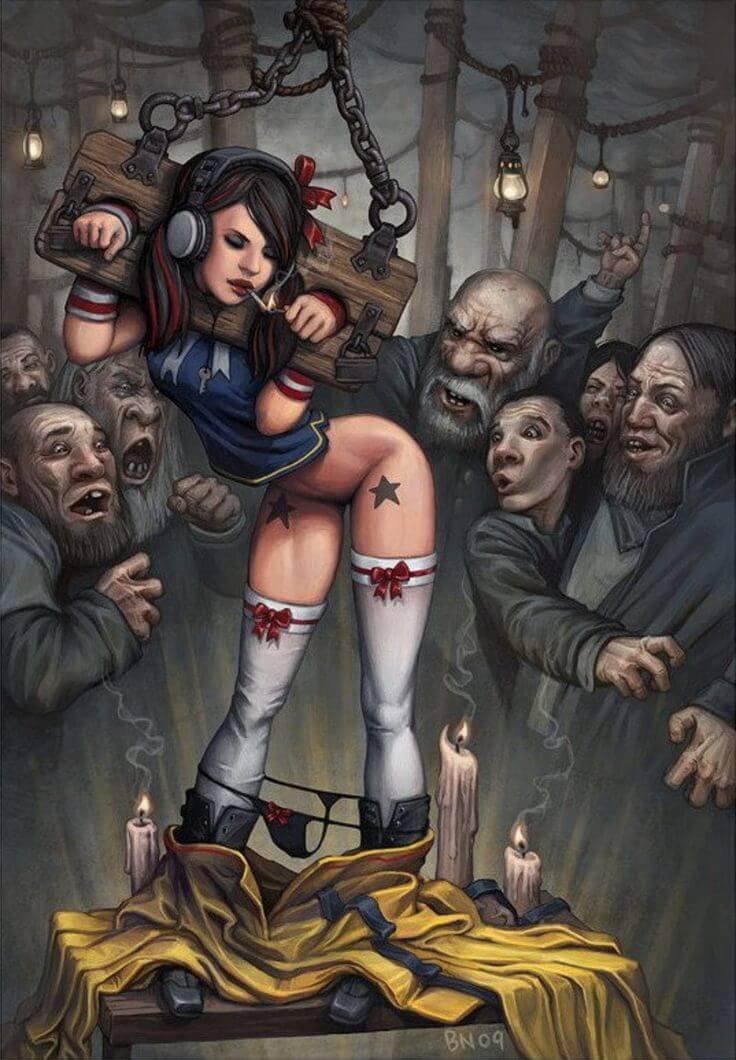 Закованная в колодки девчурка