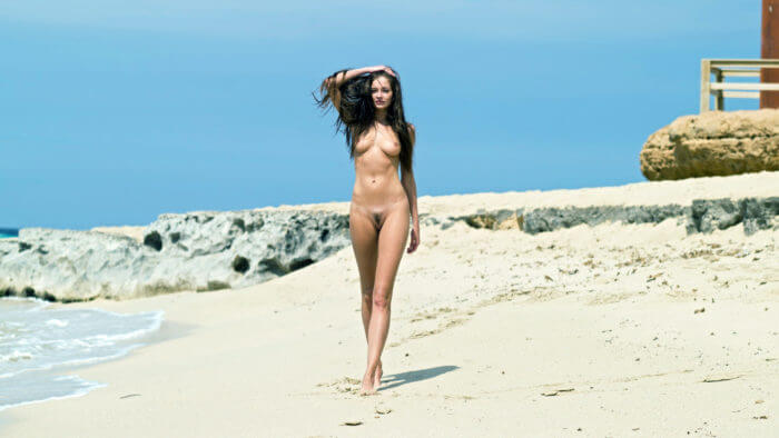 Прогуливается голышом по берегу