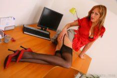 Сексуальная секретарша на столе