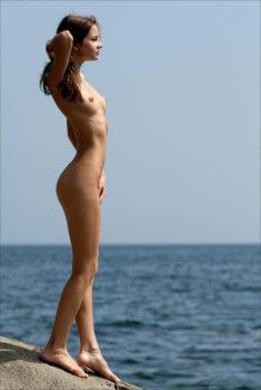 Голая девушка на берегу