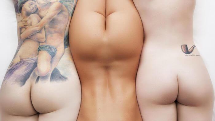 Три клёвые попки и другие голые девушки